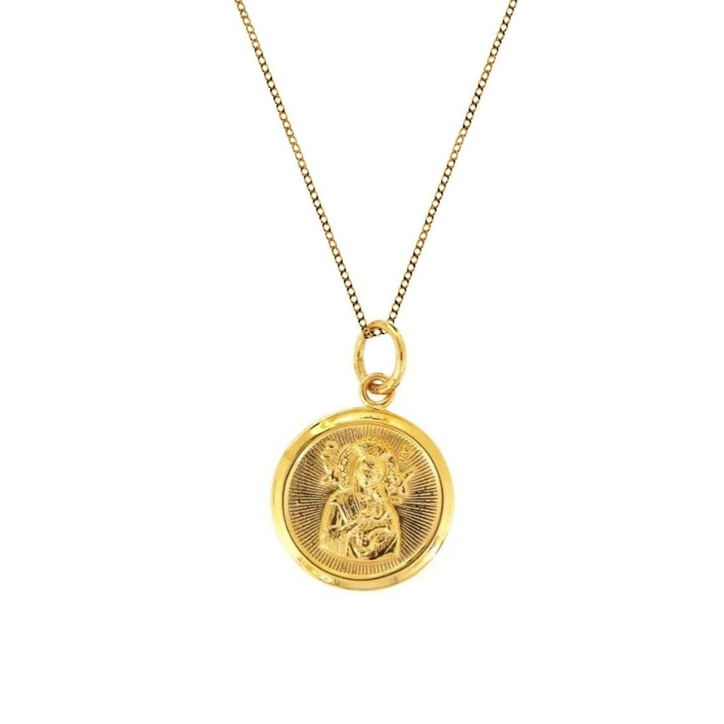 18K Chinese Gold Necklace with Round Sto. Nino & Mother of Perpetual Help Reversible Pendant
