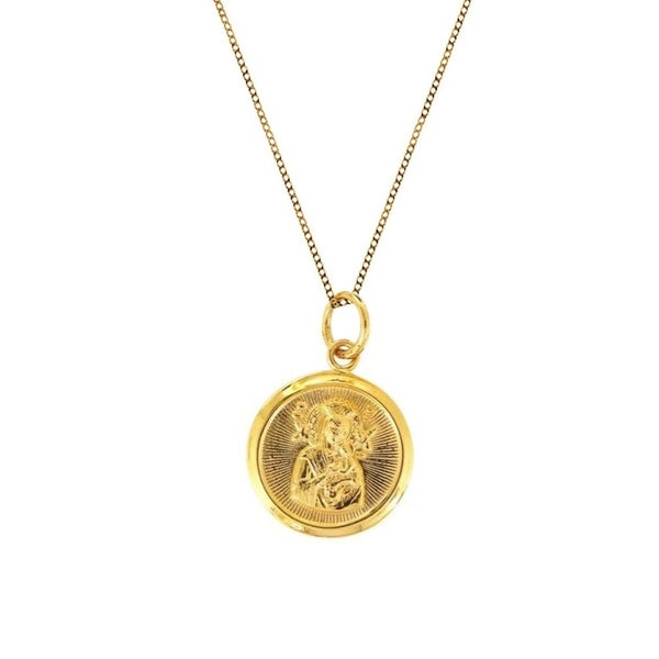 18K Chinese Gold Choker with Round Sto. Nino & Mother of Perpetual Help Reversible Pendant