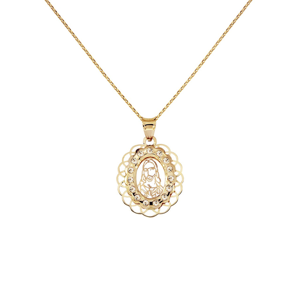 14K Italian Gold Necklace with Jesus Charm