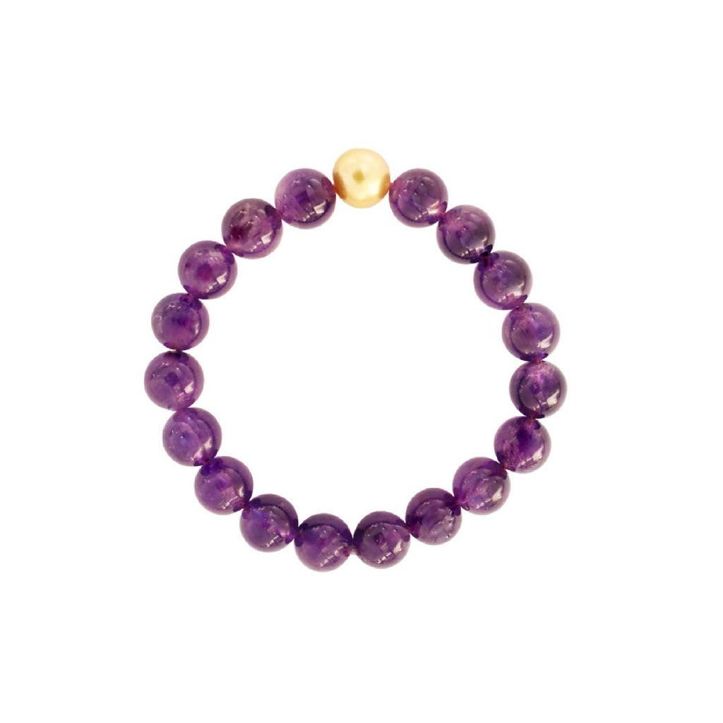 Amethyst Bead Bracelet with Golden South Sea Pearl