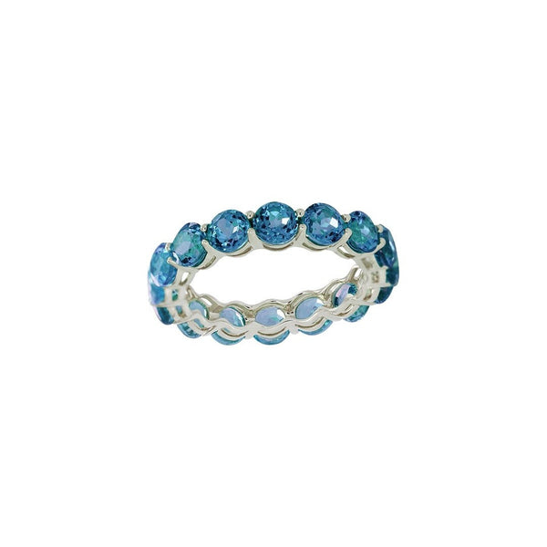 Blue Topaz Full Eternity Ring in 14K White Gold by Royal Gem
