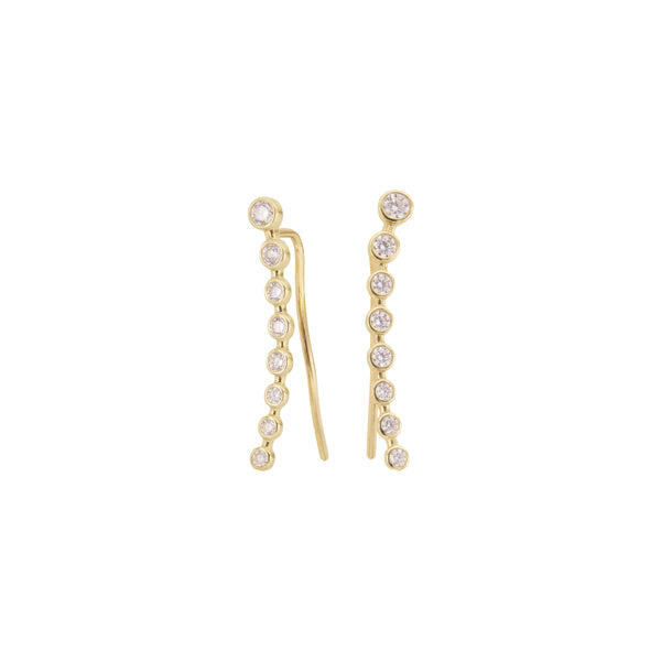 18K Italian Gold Crawler Earrings with Cubic Zirconia