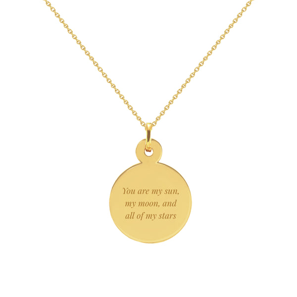 My Sun, My Moon, and All of My Stars Gold Disc Necklace