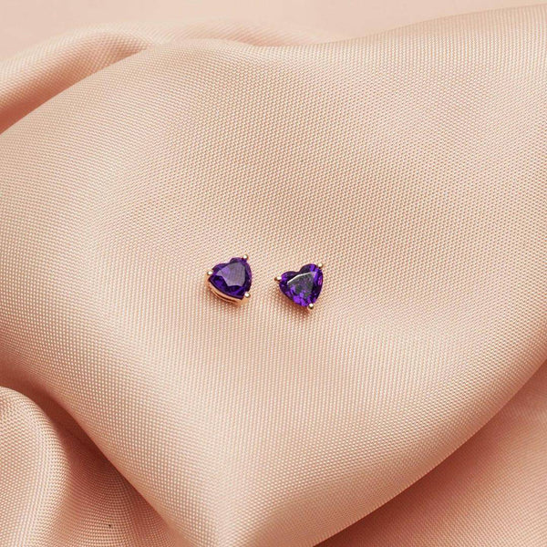 Amethyst Heart Earring Stud 1.84CT set in 14K Rose Gold