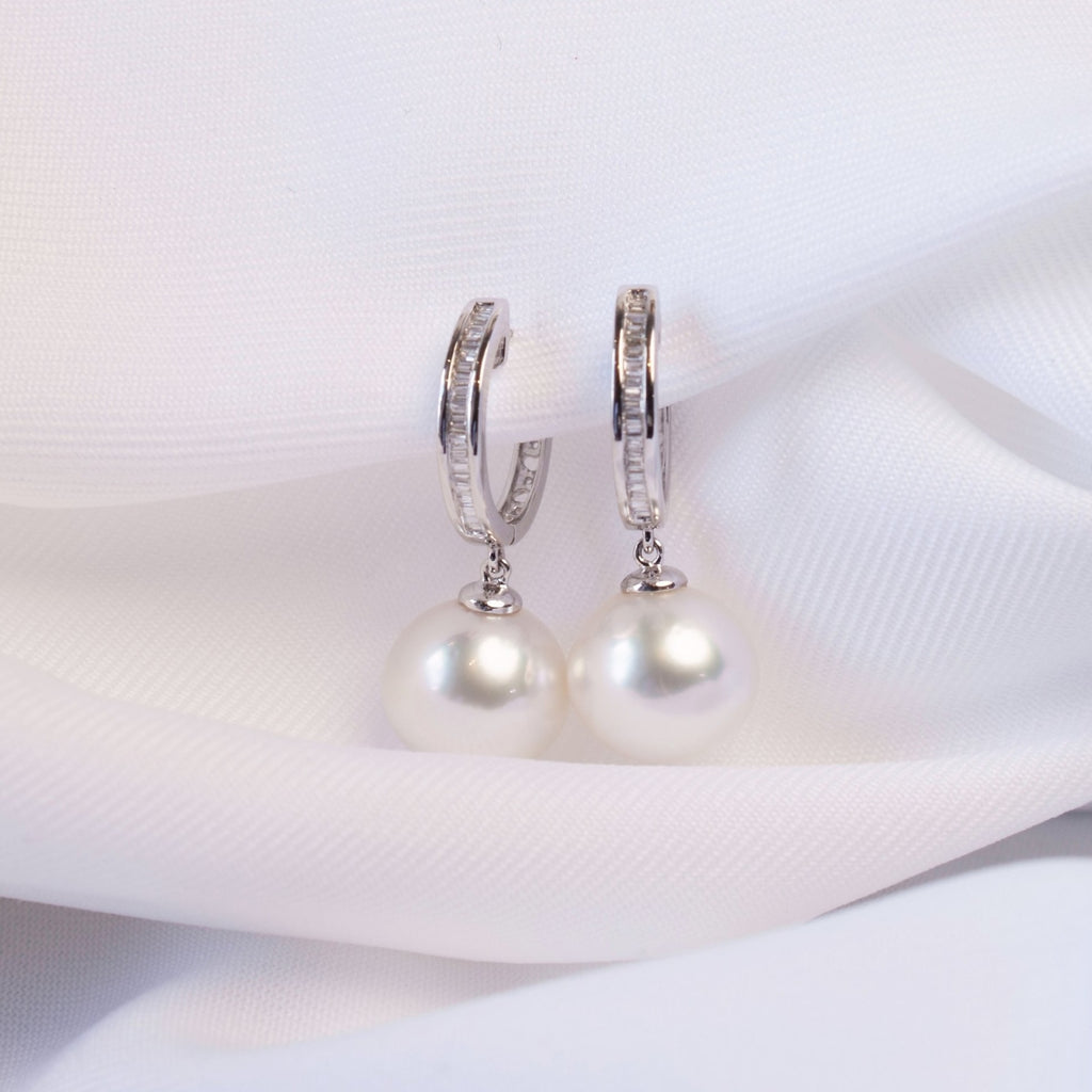 White South Sea Pearl Creolla Earrings in 18K White Gold