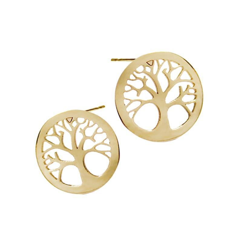 14K Italian Gold Tree of Life Kids Stud Earrings