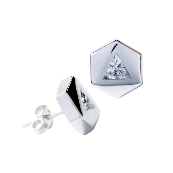 14K Italian Gold Hexagon with Cubic Zirconia Kids Stud Earrings
