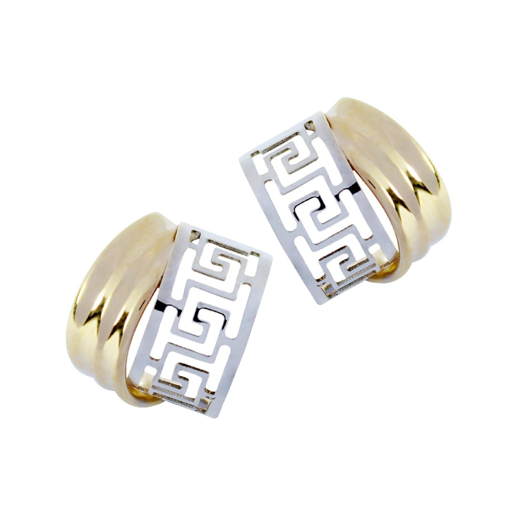 14K Italian Gold Greek-Cut Stud Earrings