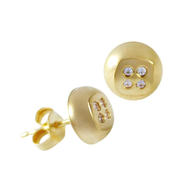 14K Italian Gold Buttons with Cubic Zirconia Stud Earrings