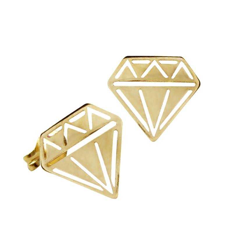 14K Italian Gold Diamond Kids Stud Earrings