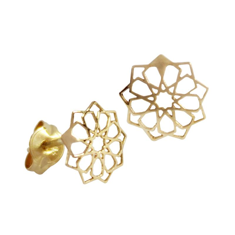 14K Italian Gold Laser-cut Flower Kids Stud Earrings