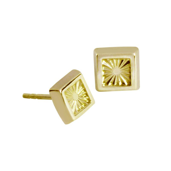 14K Italian Gold Engraved Square Kids Stud Earrings