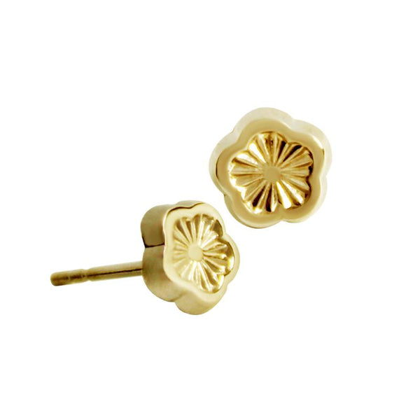 14K Italian Gold Engraved Daisy Kids Stud Earrings