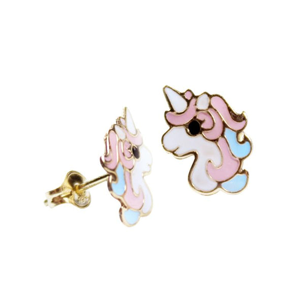 14K Italian Gold Unicorn Enamel Kids Stud Earrings