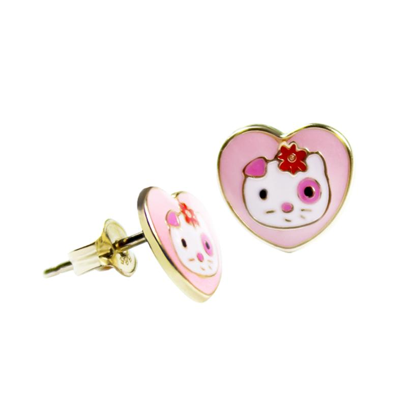 14K Italian Gold Hello Kitty Enamel Kids Stud Earrings