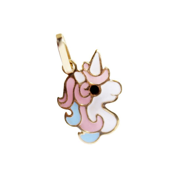 14K Italian Gold Unicorn with Enamel Pendant