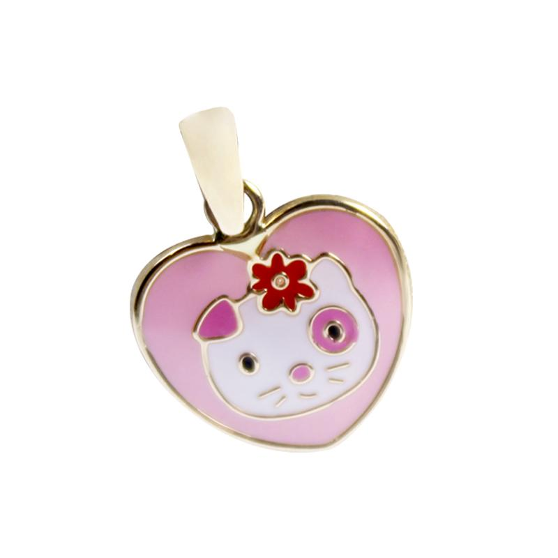 14K Italian Gold Hello Kitty with Enamel Pendant