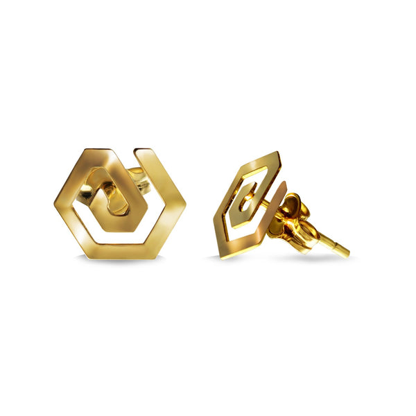 14K Italian Gold Hexagon Spiral Kids Stud Earrings