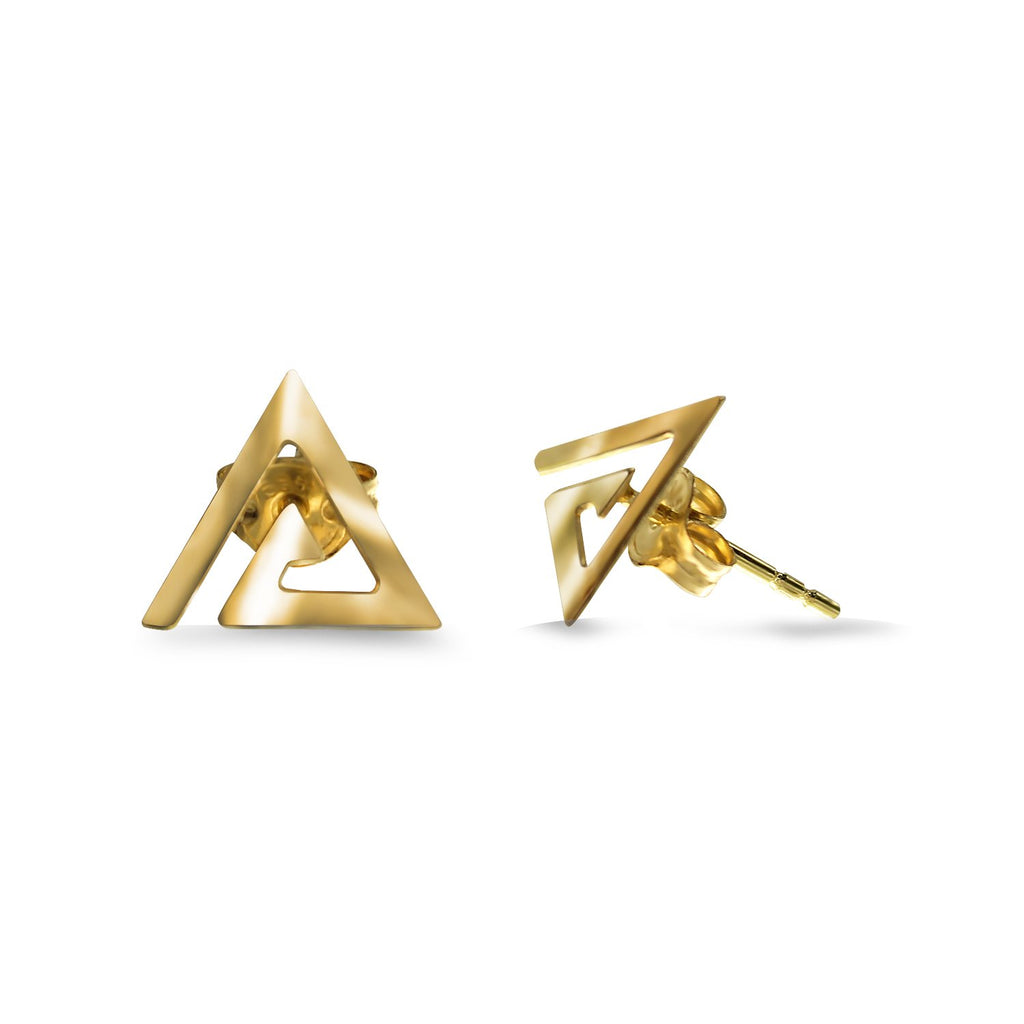 14K Italian Gold Triangle Spiral Kids Stud Earrings