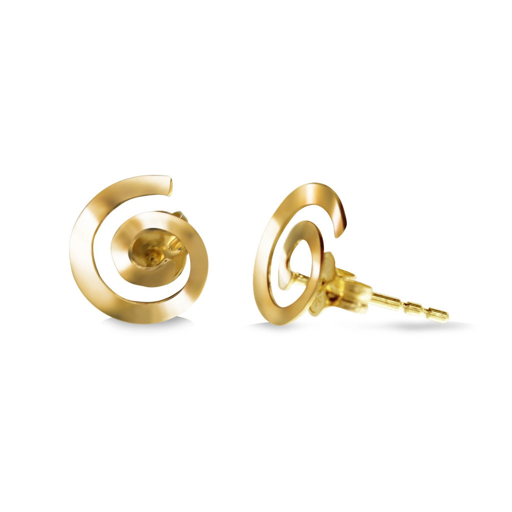 14K Italian Gold Round Spiral Kids Stud Earrings