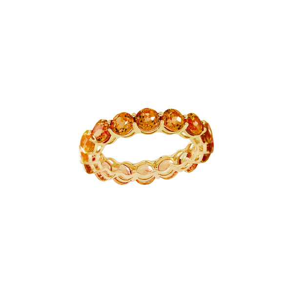 Round Citrine Full Eternity Ring in 14K Yellow Gold