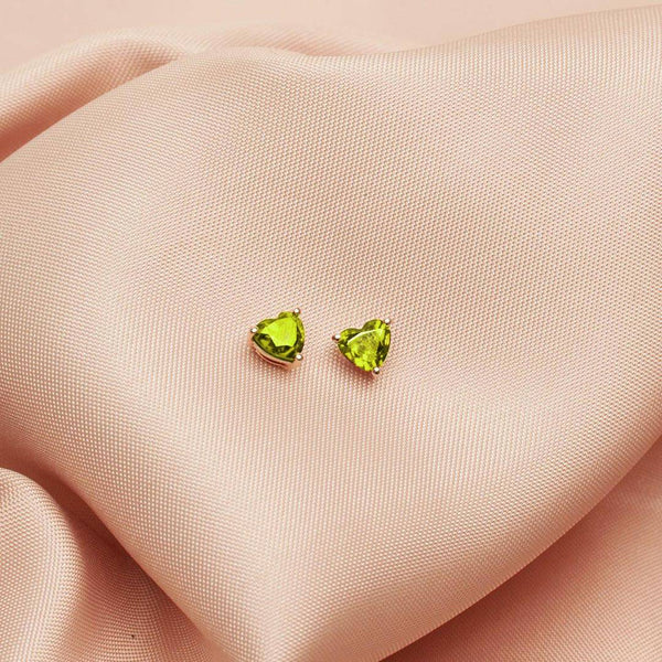 Peridot Heart Stud Earrings 2.0CT set in 14K Yellow Gold