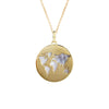 14K Italian Gold Choker in Mother of Pearl World Map Charm