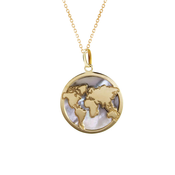 14K Italian Gold Necklace with Mother of Pearl World Map Charm