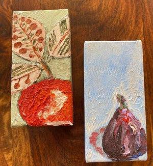 One Family Different Fruit Diptych, Acrylic on Canvas