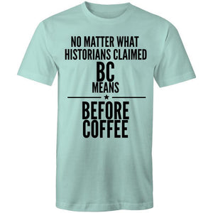 Coffee Academy - Before Coffee, AS Colour Mens T-Shirt-Men - Apparel - Shirts - T-Shirts-Aqua-Small-Tiny White Lies