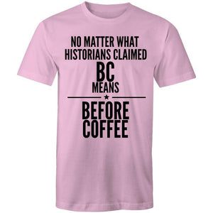 Coffee Academy - Before Coffee, AS Colour Mens T-Shirt-Men - Apparel - Shirts - T-Shirts-Pink-Small-Tiny White Lies