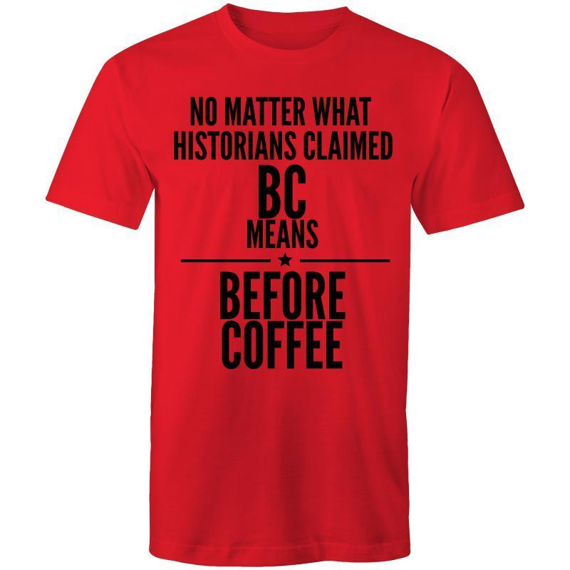Coffee Academy - Before Coffee, AS Colour Mens T-Shirt-Men - Apparel - Shirts - T-Shirts-Red-Small-Tiny White Lies