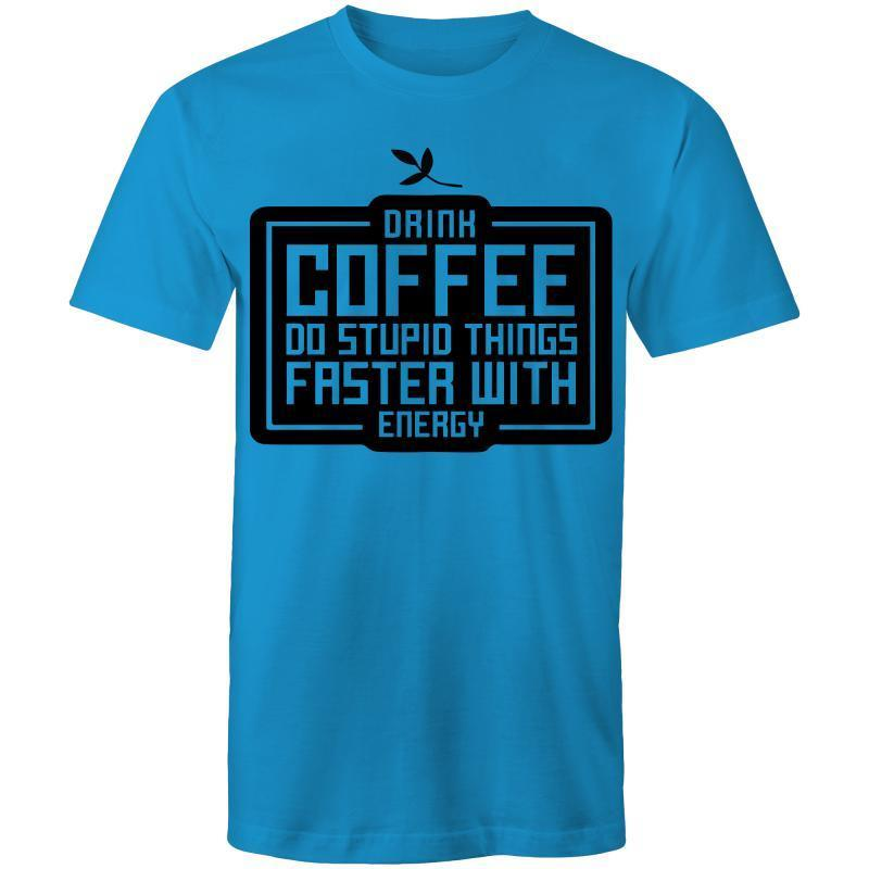 Coffee Academy - Drink Coffee! AS Colour Mens T-Shirt-Men - Apparel - Shirts - T-Shirts-Arctic Blue-Small-Tiny White Lies