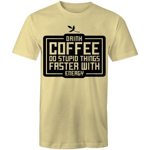 Coffee Academy - Drink Coffee! AS Colour Mens T-Shirt-Men - Apparel - Shirts - T-Shirts-Lemon-Small-Tiny White Lies