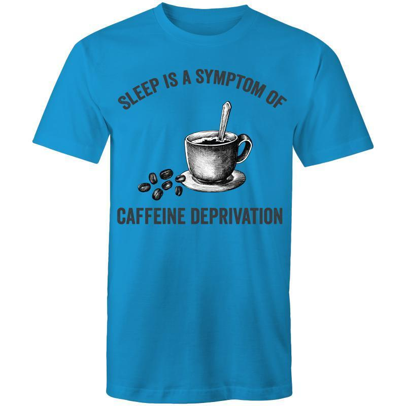Coffee Academy - Sleep is a Symptom of Coffee Deprivation, AS Colour Mens T-Shirt-Men - Apparel - Shirts - T-Shirts-Arctic Blue-Small-Tiny White Lies