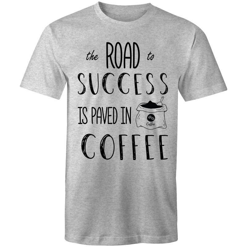 Coffee Academy - The Road to Success is Paved in Coffee, AS Colour Mens T-Shirt-Men - Apparel - Shirts - T-Shirts-Grey Marle-Small-Tiny White Lies