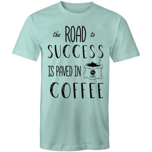 Coffee Academy - The Road to Success is Paved in Coffee, AS Colour Mens T-Shirt-Men - Apparel - Shirts - T-Shirts-Aqua-Small-Tiny White Lies