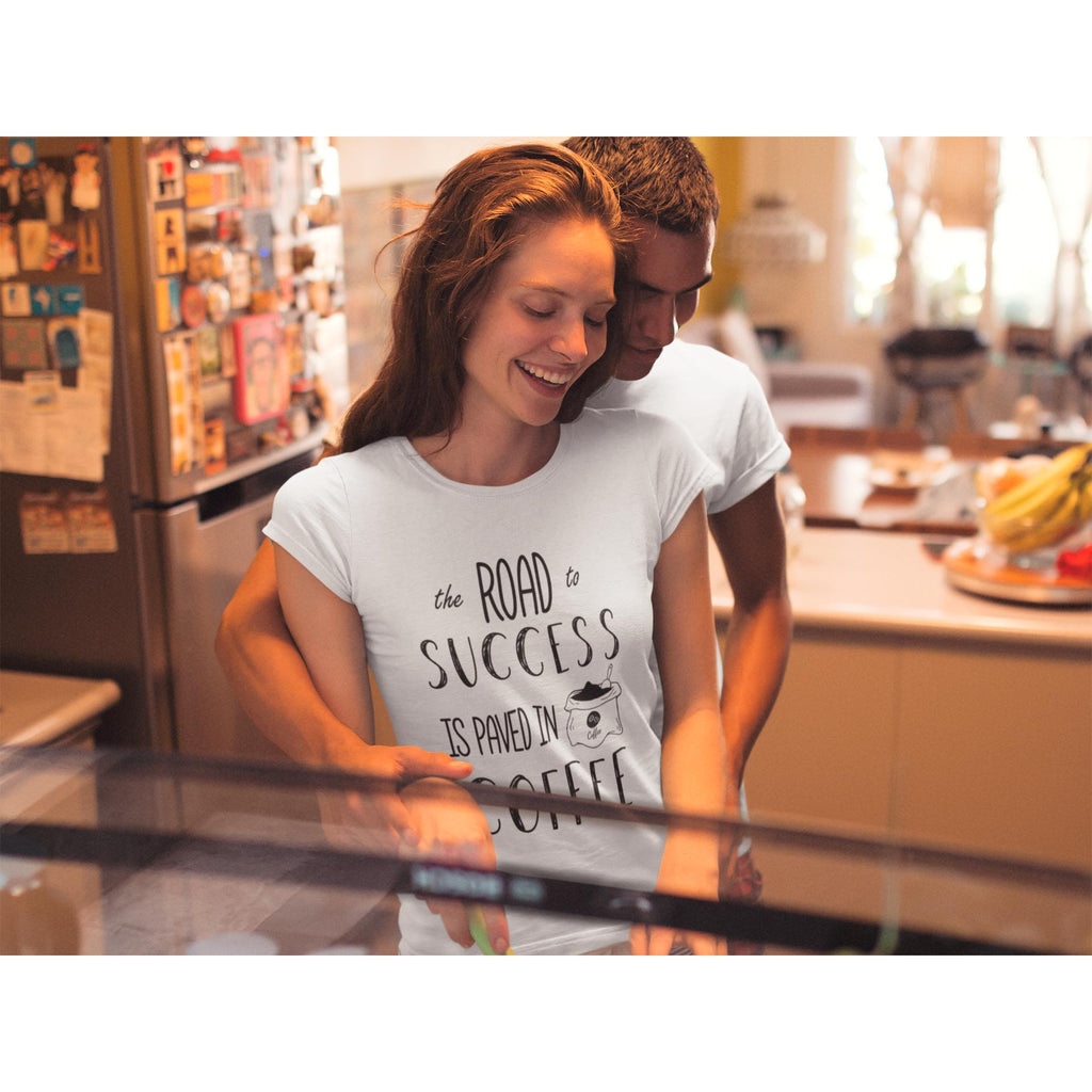 Coffee Academy - The Road to Success is Paved in Coffee, Women's Crew T-Shirt-Women - Apparel - Shirts - T-Shirts-Tiny White Lies
