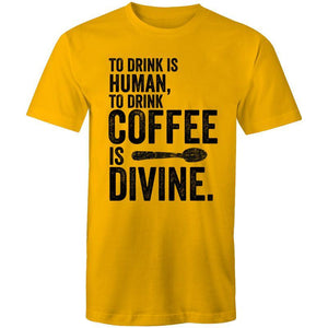 Coffee Academy - To Drink Coffee is Divine, AS Colour Mens T-Shirt-Men - Apparel - Shirts - T-Shirts-Gold-Small-Tiny White Lies
