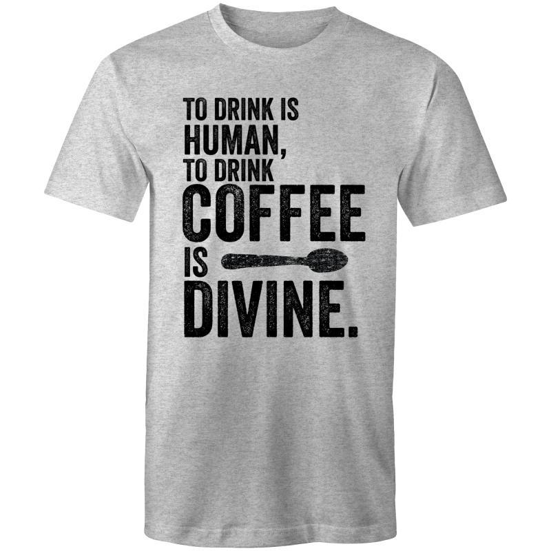 Coffee Academy - To Drink Coffee is Divine, AS Colour Mens T-Shirt-Men - Apparel - Shirts - T-Shirts-Grey Marle-Small-Tiny White Lies