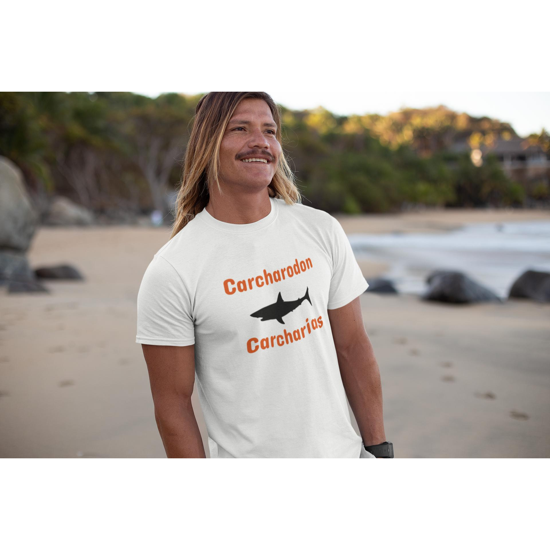 Great White - Carcharodon carcharias, AS Organic Tee-Men - Apparel - Shirts - T-Shirts-Tiny White Lies