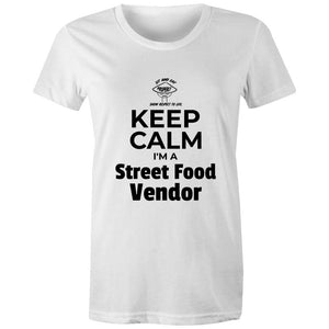 Keep Calm I'm a Street Food Vendor, Womens Crew T-Shirt-Women - Apparel - Shirts - T-Shirts-White-Womens 8 / XS-Tiny White Lies
