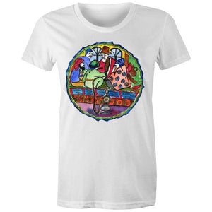 Turkish Plate Original Art, Women's Crew T-Shirt-Women - Apparel - Shirts - T-Shirts-White-Womens 8 / XS-Tiny White Lies
