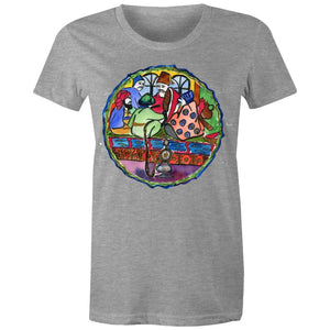 Turkish Plate Original Art, Women's Crew T-Shirt-Women - Apparel - Shirts - T-Shirts-Grey Marle-Womens 8 / XS-Tiny White Lies