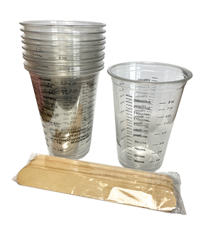 8oz. Clear Plastic Measuring Cups with Wooden Sticks - Pack of 10