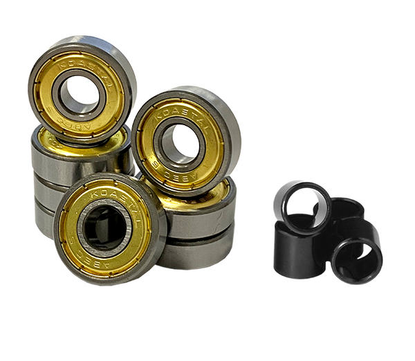 KOASTAL Skateboard Bearings ABEC 5 Oil Filled Nylon Seal - Spacers Included