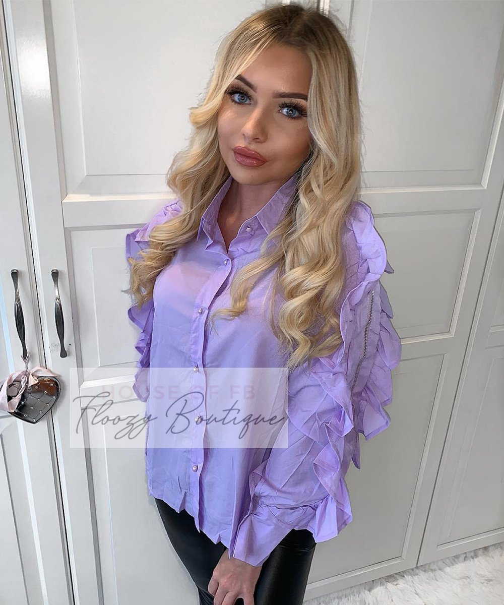 Frill Zip Detail Blouse