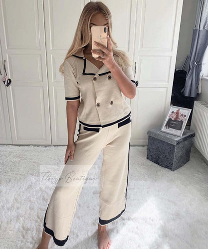 Short Sleeve Button Culotte Co-ord