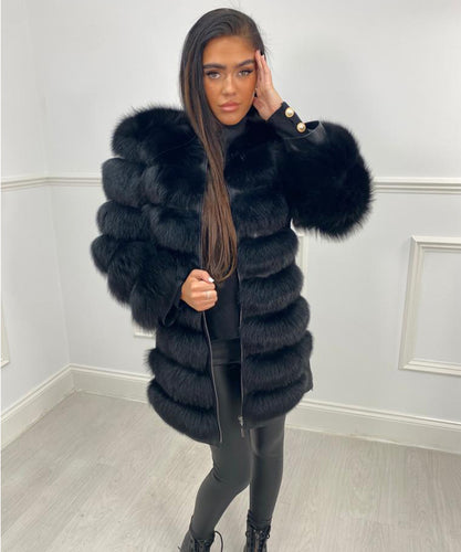 Seven Row Fur Coat/Gilet - Black