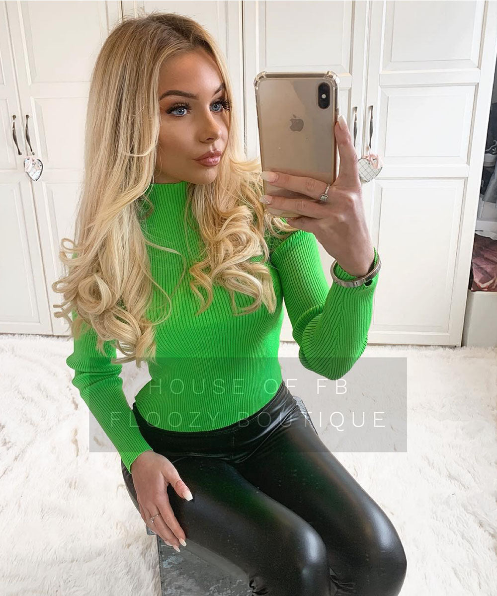 Ribbed Neon Long Sleeve Top